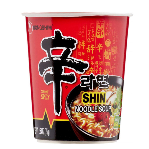 (6 Packs) Nongshim Shin Spicy Instant Ramen Noodles Cup