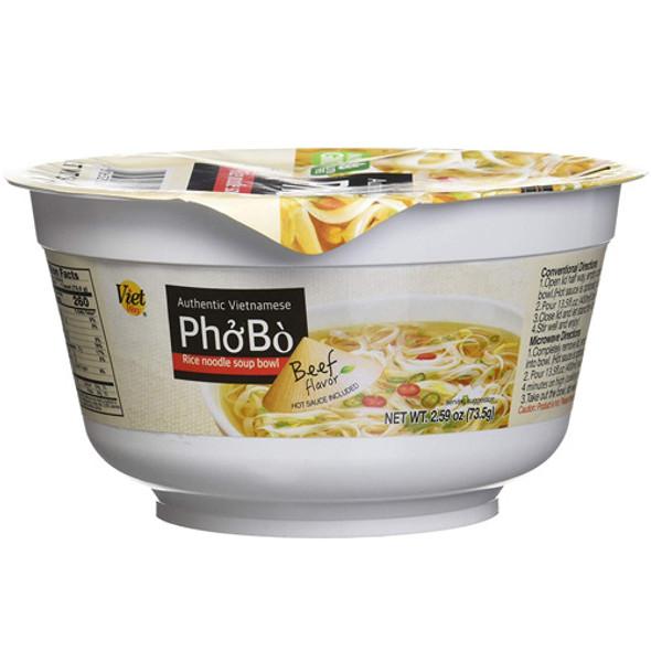 Viet Way Instant Vietnamese Pho Bowl - Rice Noodle Beef Flavor Soup Bowl