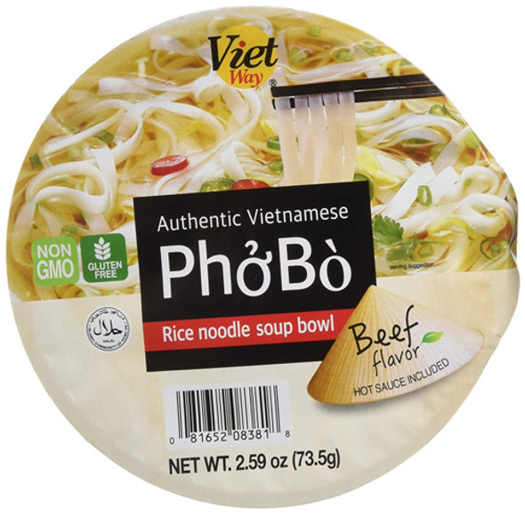 Authentic Vietnamese Instant Pho Beef Flavor Bowl - Instant Rice Noodle Soup Bowl