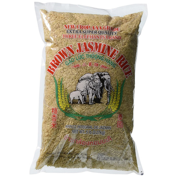 Three Elephants Brown Jasmine Rice 5lbs