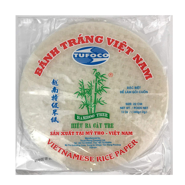 Tufoco Bamboo Tree Spring Roll Rice Paper Wrappers 22cm