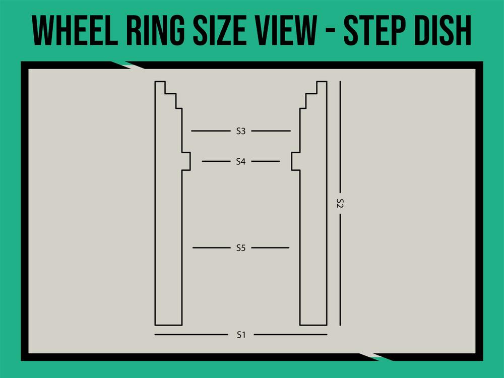 "17"" Universal Wheel rings Step Dish"
