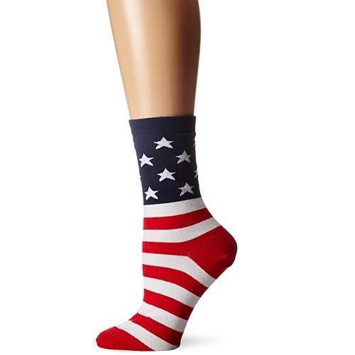 K.Bell Women's American Flag Crew  Socks