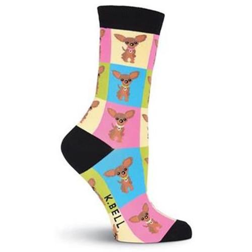 K.Bell Women's Chihuahua Crew Socks