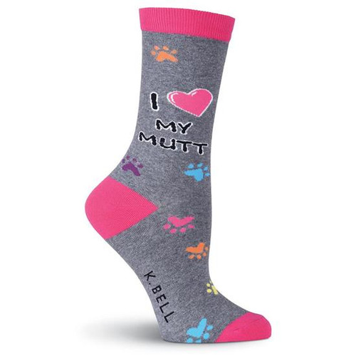 K.Bell Women's  I Heart My Mutt Crew  Socks