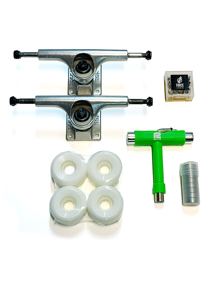 ACE 02 / 03 Trucks hardware set from The Shredquarters Europe - including ACE 02 or 03 low trucks, Revive Skateboards T-tool, FORCE wheels skateboard hardware, ABEC3 bearings and 52mm blank wheels