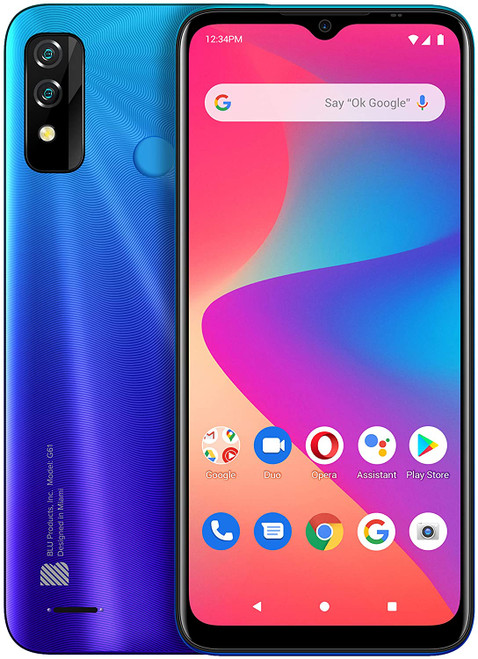 BLU G61 Android Smartphone Blue Green Red