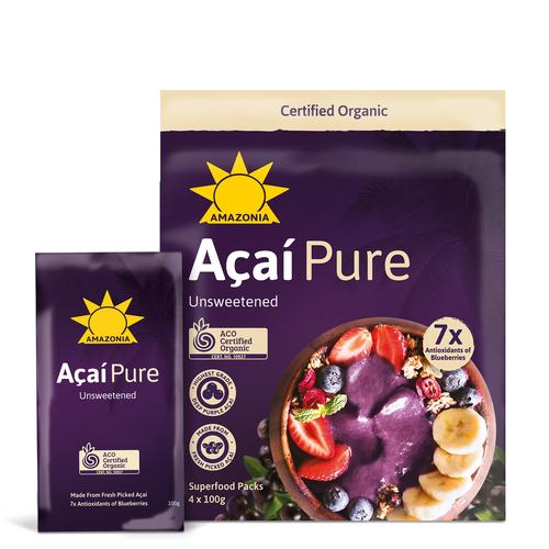 Acai Pure Smoothie Frozen Organic Pack 4 x 100g - Amazonia