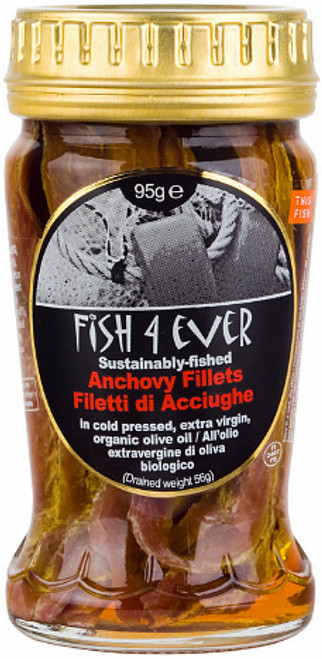 Anchovies in Olive Oil 95g jar - Fish 4 Ever