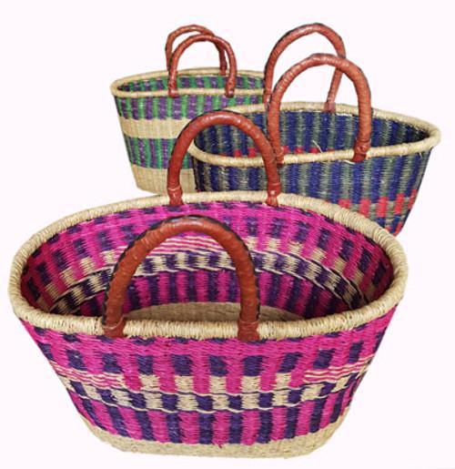 African Basket - Large Oval 2 Handle Coloured