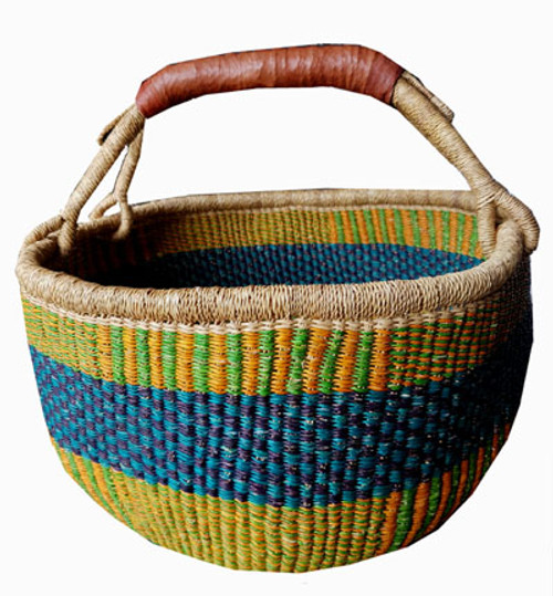 African Basket - Large Round One handle Coloured