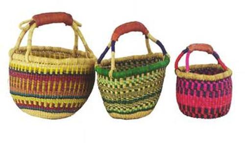 African Basket - Medium Round One Handle Coloured