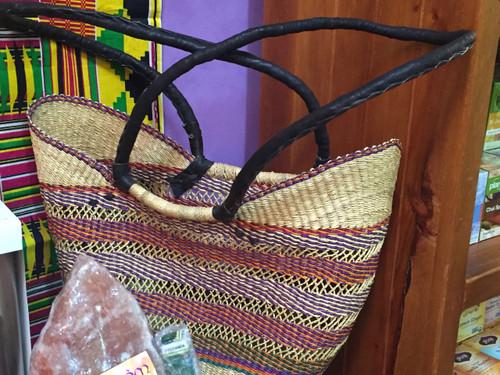African Basket - Shopper Open Weave Long Handles Coloured