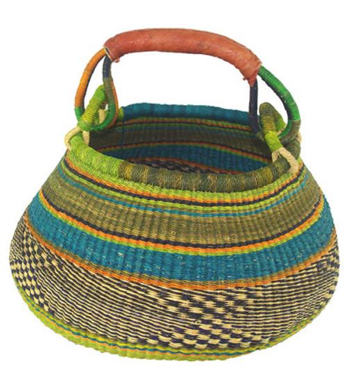 African Basket - Pot Basket One Handle Coloured