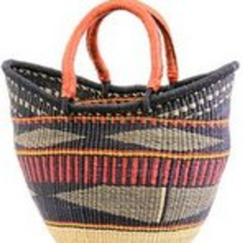 African Basket - Shopper Tote Closed Weave Long Handles Coloured
