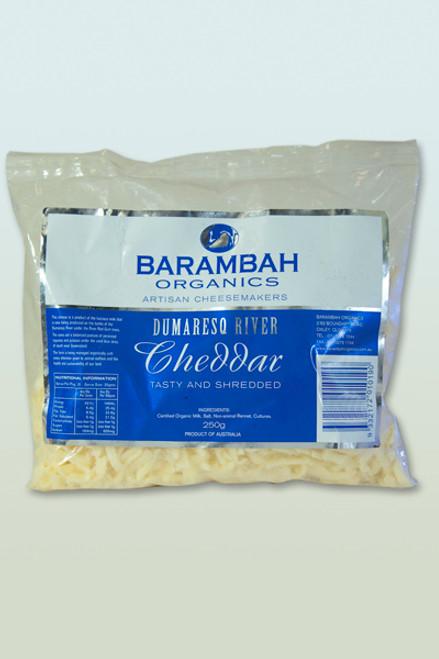 Cheddar Tasty Shredded Organic 250g - Barambah