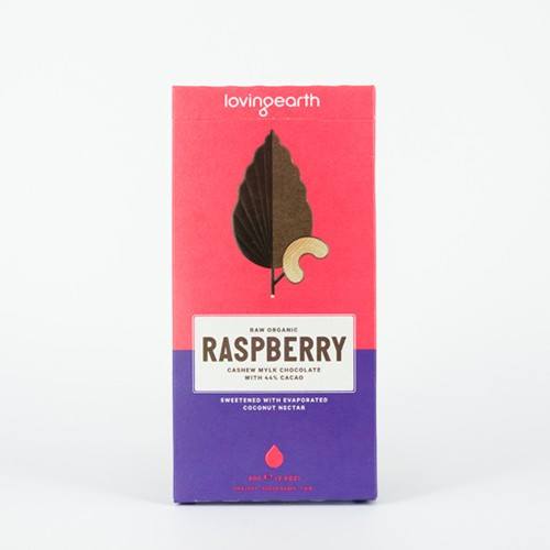 Raspberry Cashew Mylk Chocolate Raw Organic 80g - Loving Earth