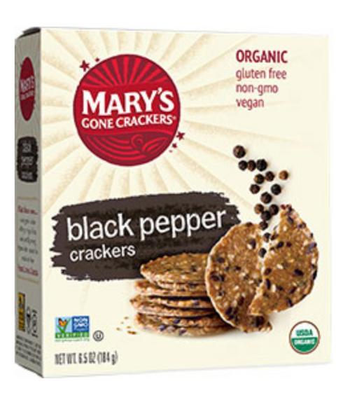 Black Pepper Crackers Organic & Gluten Free 184g - Mary's Gone Crackers