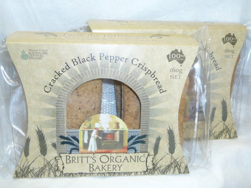 Spelt Cracked Pepper Crispbread Organic 160g  - Britts Organic