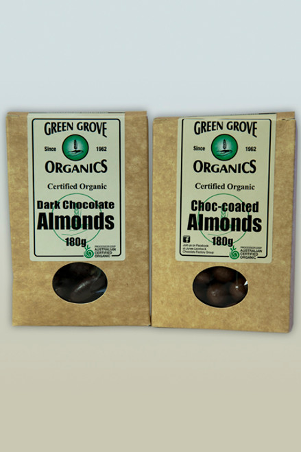 Dark Chocolate Almonds 180g - Green Grove Organics