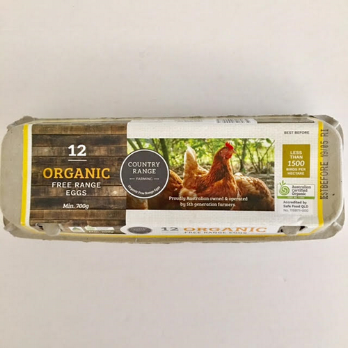 Eggs Organic Free Range XL Dozen - Country Range