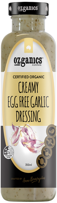 Dressing Creamy Garlic Egg Free 350ml - Ozganics