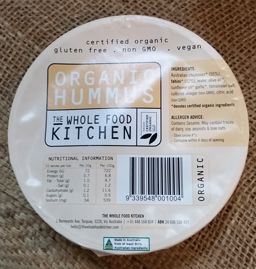 Hummus Organic 200g - The Whole Food Kitchen