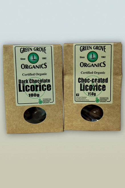 Licorice Milk Choc Coated 180g - Green Grove Organics
