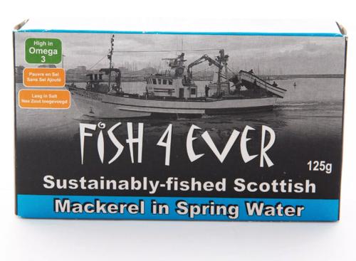 Mackerel Fillets In Spring Water - Fish 4 Ever 120g