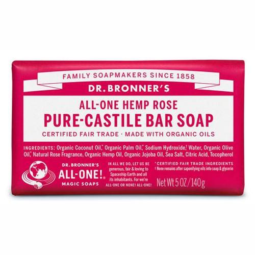 Soap Bar Castile Hemp Rose 140g - Dr Bronners