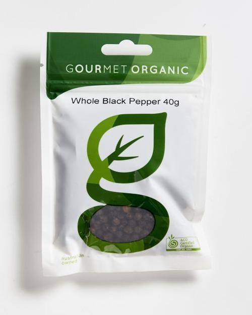 Pepper Whole Black Organic 40g - Gourmet Organics