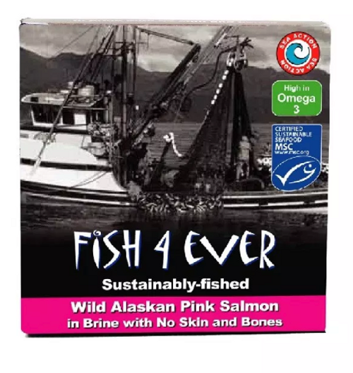 Salmon Pink Wild Pacific In Brine No Skin/Bones 160g - Fish 4 Ever