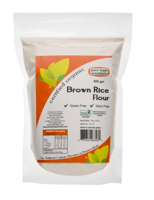Rice Flour (Brown) Organic 500g - Pure Food Essentials