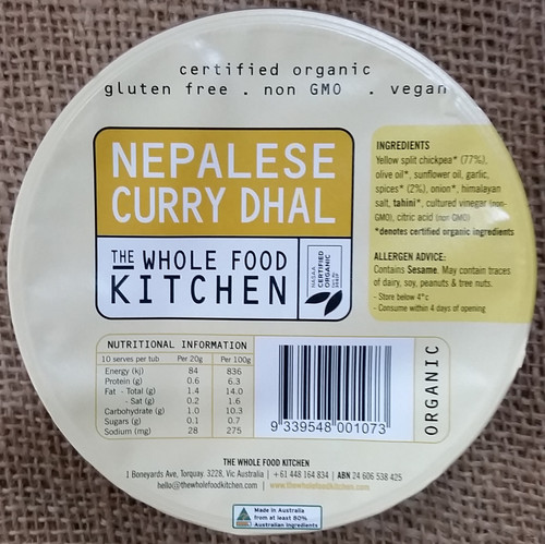 Dip Nepalese Curry Dhal Organic 200g - The Whole Food Kitchen
