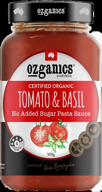 Pasta Sauce Tomato & Basil Organic 500g - Ozganics