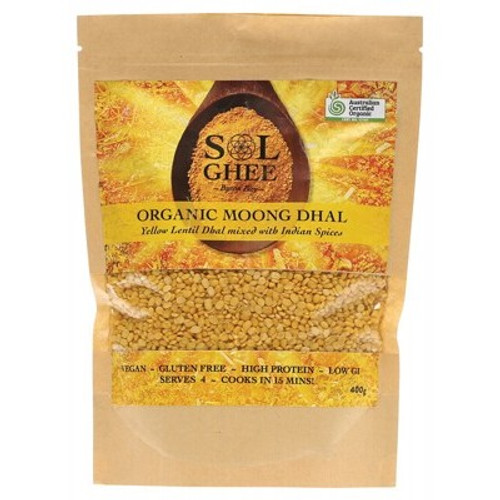 Dhal Mix Moong Dhal Yellow Lentil 400g - Sol Organic