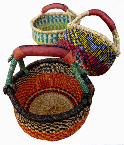 African Basket - Mini Round One Handle