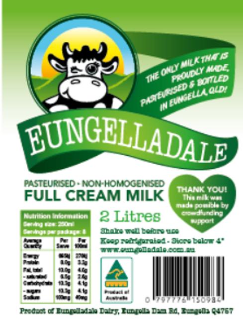 Milk Full Cream Local 2L - Eungelladale Dairy