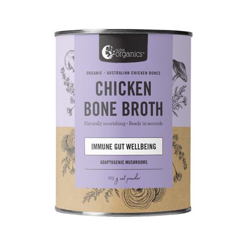 Chicken Bone Broth Mushroom Organic 125g Canister - Nutra Organics