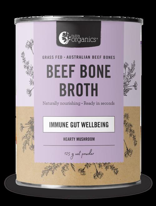 Beef Bone Broth Mushroom Organic 125g Canister - Nutra Organics
