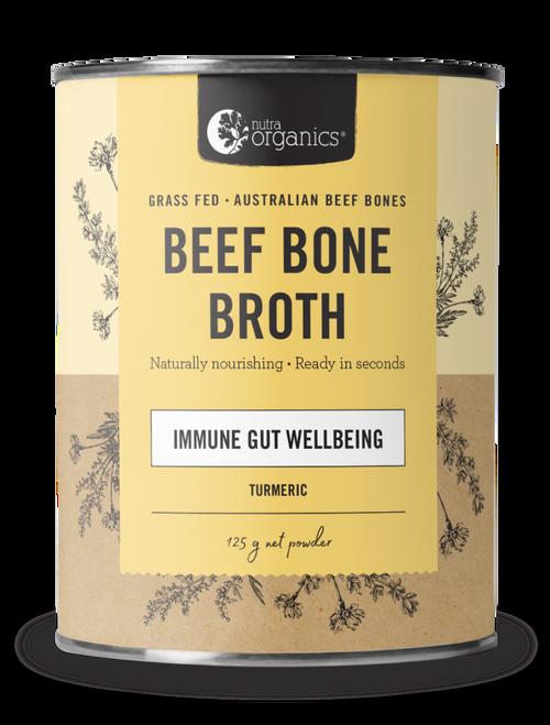 Beef Bone Broth Turmeric Organic 125g Canister - Nutra Organics