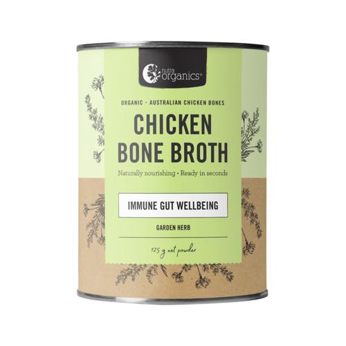 Chicken Bone Broth Garden Herb Organic 125g Canister - Nutra Organics