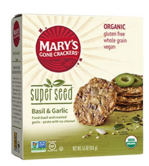 Superseed Basil/Garlic Crackers Organic & Gluten Free  155g - Mary's Gone Crackers