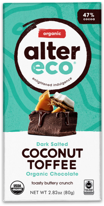 Dark Chocolate Salted Coconut Toffee Organic 80g - Alter Eco