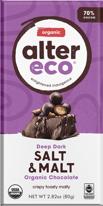 Dark Chocolate Salt & Malt Organic 80g - Alter Eco