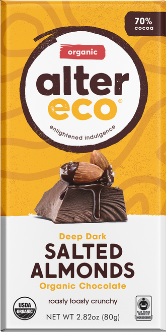 Dark Chocolate Salted Almonds Organic 80g - Alter Eco