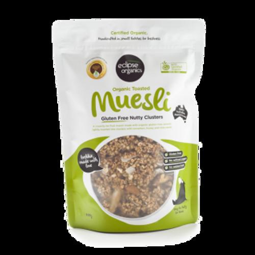 Muesli Gluten Free Nutty Clusters Toasted Organic 400g- Eclipse Organics