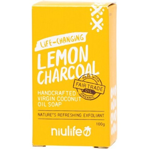 Soap Bar Coconut Oil Lemon Charcoal 100g - Niulife