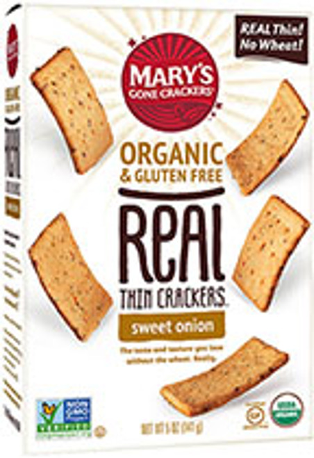 Crackers Sweet Onion Real Thin Organic & Gluten Free  141g - Mary's Gone Crackers