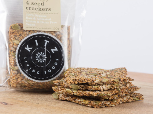 Savoury 4 Seed Crackers Organic 100g - Kitz